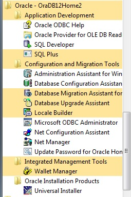 Oracle Installed Products
